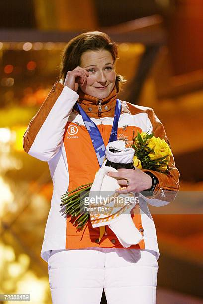 Tears of joy for Claudia Pechstein of Germany as she recieves her gold medal from the womens 3000m speed skating event at the medal awards ceremony...