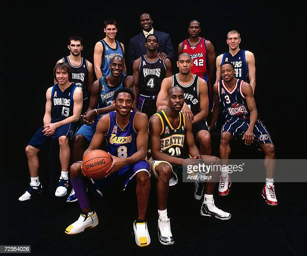 The 2002 AllStar West team poses for a portrait from Top to Bottom Predrag Stojakovic Wally Szczerbiak Shaquille O''Neal Elton Brand Dirk Nowitzki...