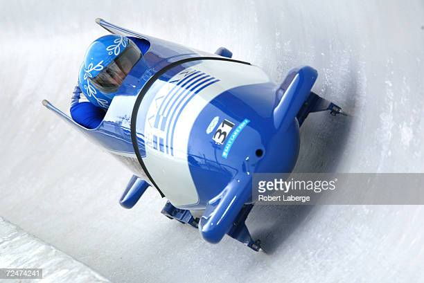 The Greece-1 team of John-Andrew Kambanis and Ioannis Leivaditis in action in the Men's Two-Man Bobsleigh event at the Utah Olympic Park in Park City...