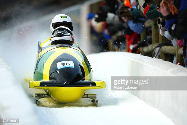 The Jamaica1 team of Winston Alexander Watt and Lascelles Oneil Brown in action in the Men's TwoMan Bobsleigh event at the Utah Olympic Park in Park...
