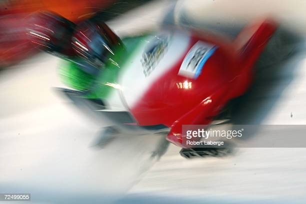 The Mexico1 team of Roberto Tames and Roberto Lauderdale in action in the Men's TwoMan Bobsleigh event at the Utah Olympic Park in Park City during...