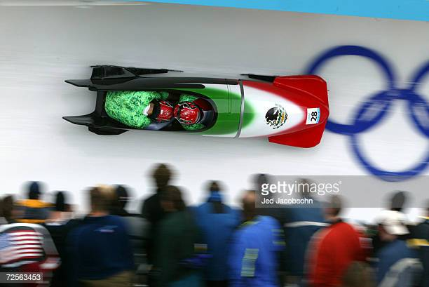 The Mexico1 team of Roberto Tames and Roberto Lauderdale compete in the Men's TwoMan Bobsleigh event at the Utah Olympic Park in Park City during the...