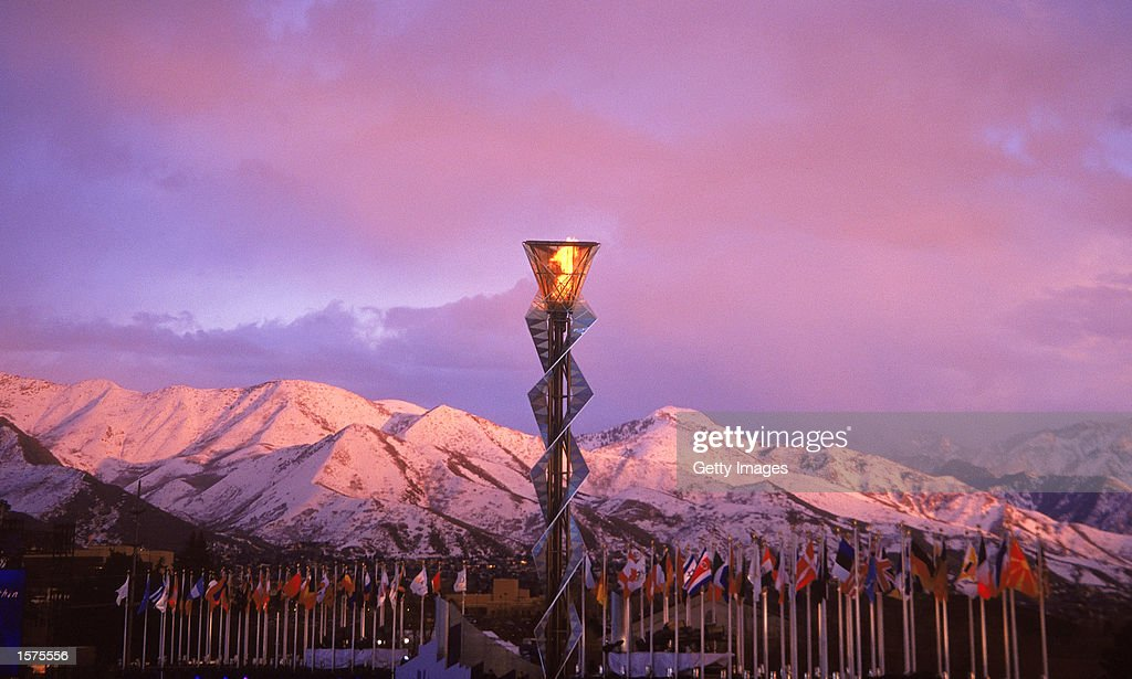 The Olympic Cauldron before the Closing Ceremony of the Salt Lake City Winter Olympic Games at the Rice-Eccles Stadium in Salt Lake City, Utah. Mandatory Credit: Allsport/ Getty Images