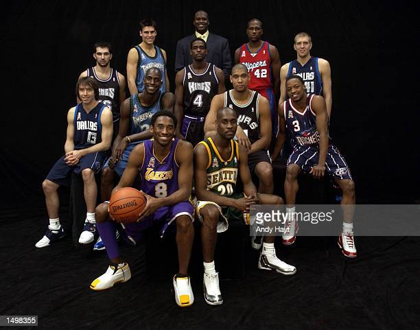 The Western Conference AllStar team poses for a team photo prior to the 2002 NBA AllStar game at the First Union Center during the 2002 NBA AllStar...