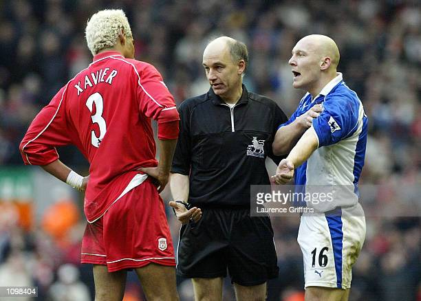 Thomas Gravesen of Everton argues with old team mate Abel Xavier of Liverpool during the Liverpool v Everton FA Barclaycard Premiership match at...