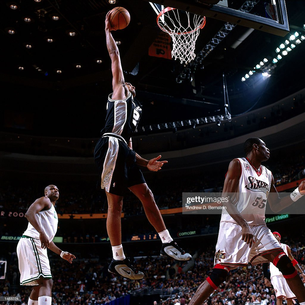 Tim Duncan #21 of the San Antonio Spurs goes for a dunk during the 2002 NBA All Star Game at the First Union Center in Philadelphia, Pennsylvania.