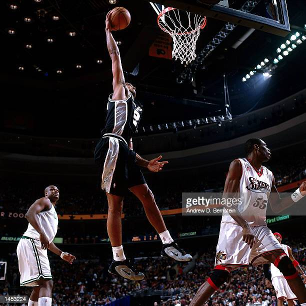 Tim Duncan of the San Antonio Spurs goes for a dunk during the 2002 NBA All Star Game at the First Union Center in Philadelphia Pennsylvania NOTE TO...