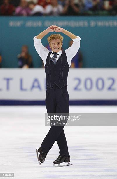 Timothy Goebel of the USA competes in the men's free program during the Salt Lake City Winter Olympic Games at the Salt Lake Ice Center in Salt Lake...