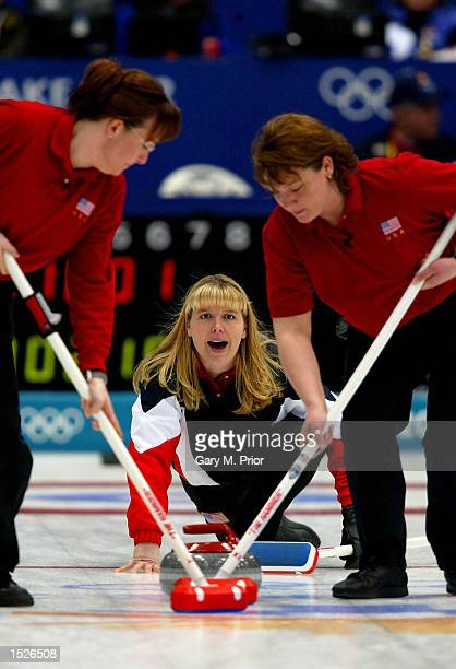 Skip Kari Erickson during the Canada v USA women's curling bronze medal match during the Salt Lake City Winter Olympic Games at the Ice Sheet in...