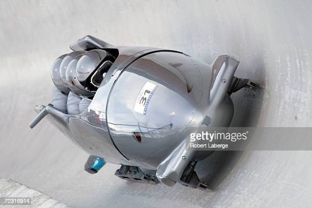 Virgin Islands1 team of Keith Sudziarski Paul Zar Christian Brown and Michael Savitch compete in the 4Man Bobsleigh at the Utah Olympic Park in Park...