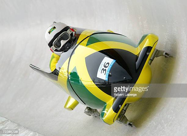 Winston Alexandr Watt and Lascelles Oneil Brown of Jamaica compete in the men's 2man bobsled during the Salt Lake City Winter Olympic Games at the...
