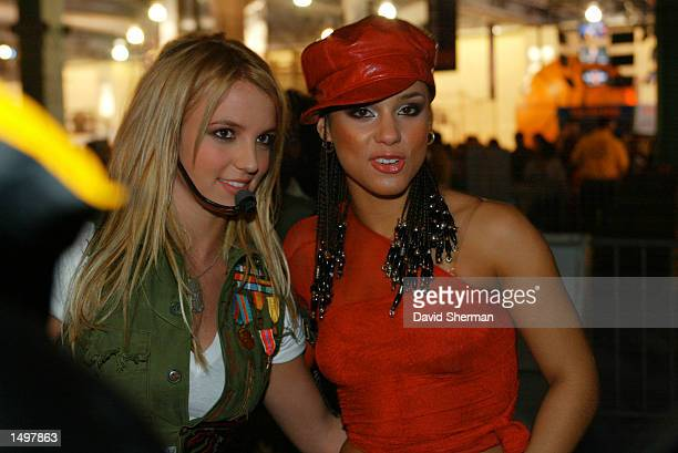 Britney Spears and Alicia Keys backstage during the NBA All Star Read to Achieve Celebration in Philadelphia Pennsylvania DIGITAL IMAGE NOTE TO USER...