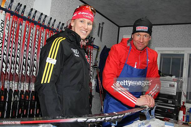 Feb 2009, Pyeongchang, South Korea --- Kati Wilhlem with Andreas Emslaender personal technician for her and the US team IBU Biathlon World...