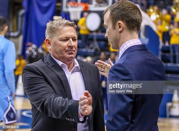 Citadel Bulldogs head coach Duggar Baucom and Chattanooga Mocs head coach Matt McCall greet each other before the game between UT Chattanooga and The...