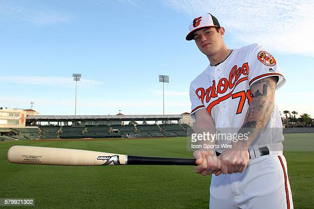 Jonah Heim poses during the Orioles Photo Day workout at Ed Smith Stadium in Sarasota Florida