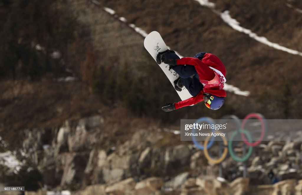 PYEONGCHANG, Feb. 21, 2018 -- Billy Morgan of Britain competes during men's snowboard big air qualification at the 2018 PyeongChang Winter Olympic Games at Alpensia Ski Jumping Centre, PyeongChang, South Korea, Feb. 21, 2018. Billy Morgan was qualified with 90.50 points.