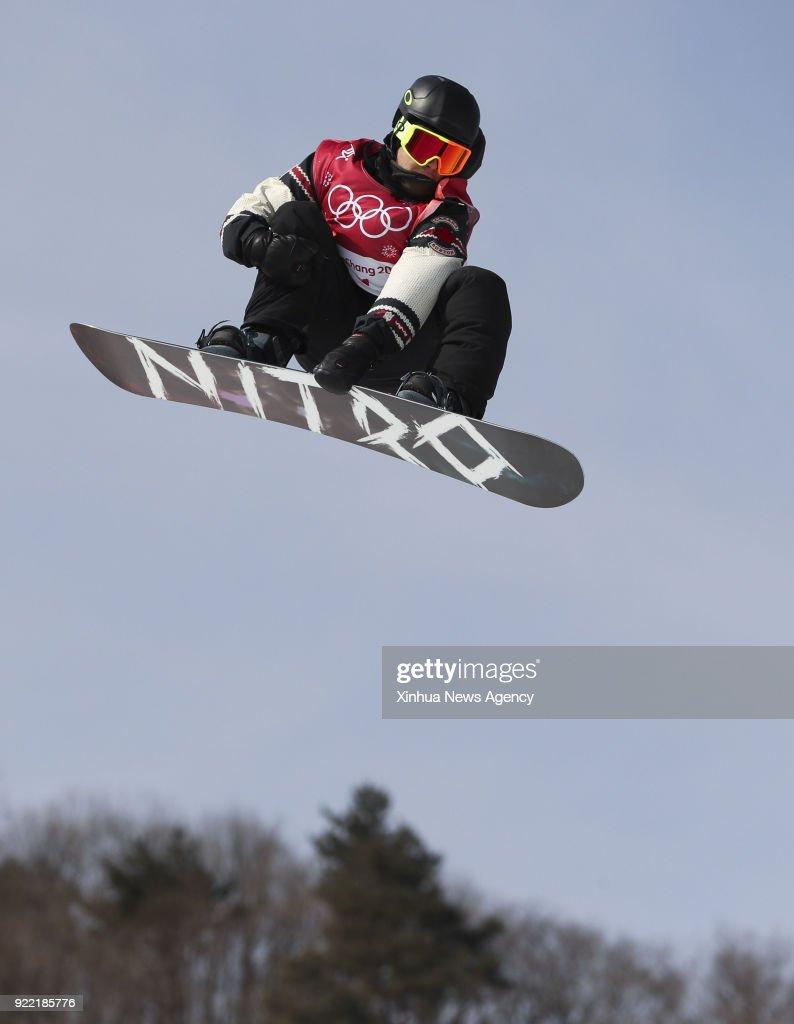 PYEONGCHANG, Feb. 21, 2018 -- Sebastien Toutant of Canada competes during men's snowboard big air qualification at the 2018 PyeongChang Winter Olympic Games at Alpensia Ski Jumping Centre, PyeongChang, South Korea, Feb. 21, 2018. Sebastien Toutant was qualified with 91.00 points.