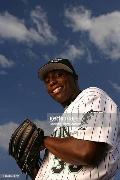 Feb 22 2006 Jupiter FL USA Portraits of pitcher DONTRELLE WILLIS of the Florida Marlins baseball team pictured in Jupiter FL on Feb 22 2006