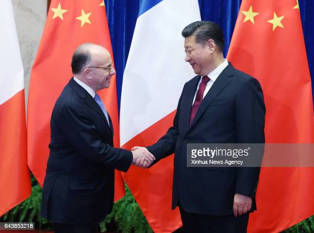 BEIJING Feb 22 2017 Chinese President Xi Jinping meets with French Prime Minister Bernard Cazeneuve in Beijing capital of China Feb 22 2017