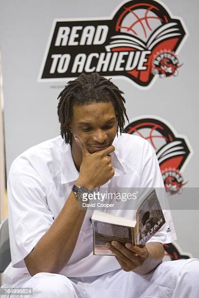 Feb 23 2009 Toronto Raptors Chris Bosh and Anthony Parker read the Story Elijah of Buxton to students from Highcastle PS as part of literacy action...