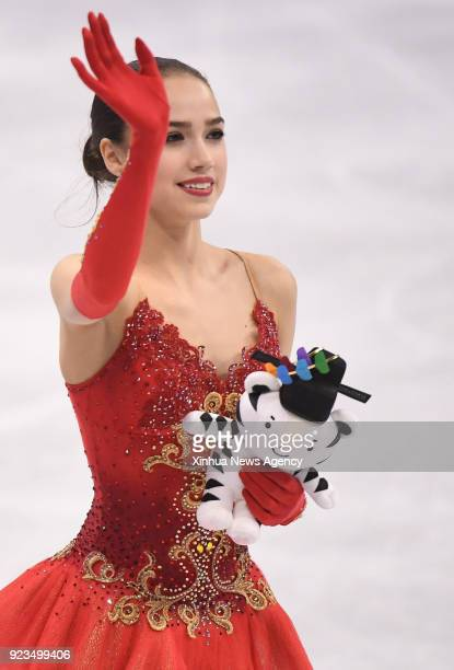 PYEONGCHANG Feb 23 2018 Olympic athlete from Russia Alina Zagitova waves to the crowd after the ladies' single skating free skating of figure skating...