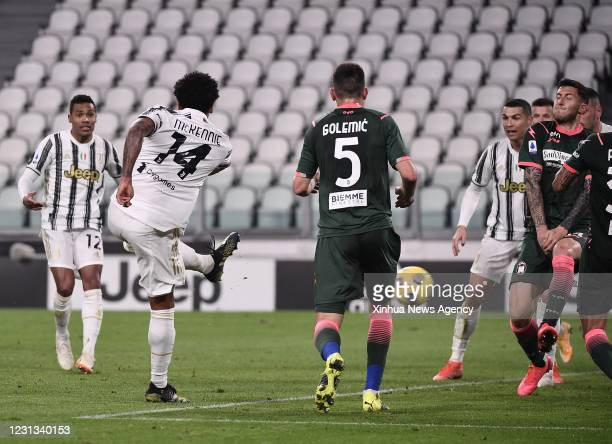 Feb. 23, 2021 -- FC Juventus' Weston Mckennie 2nd L scores during a serie A football match between FC Juventus and Crotone in Turin, Italy, Feb. 22,...