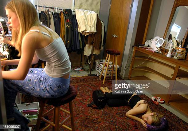 ARROW OK Feb 24 2007 Even the floor is a welcome napping spot when a few spare minutes arise between rehearsal and lunch Kelli Leech<cq> 16 right...