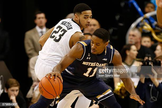 Notre Dame Fighting Irish guard Demetrius Jackson gets the ball on a steal from Wake Forest Demon Deacons guard Rondale Watson during the regular...
