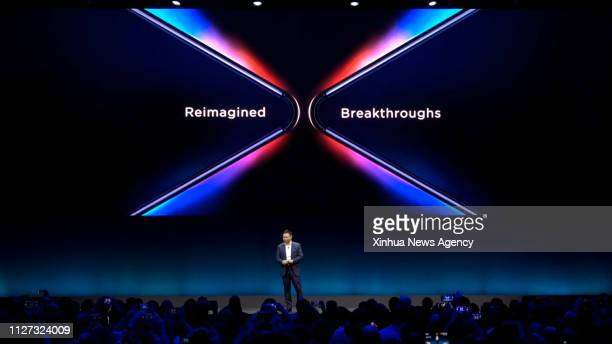BARCELONA Feb 25 2019 Richard Yu CEO of Consumer Business Group of Chinese tech company Huawei presents the new Mate X a foldable 5G ready smartphone...
