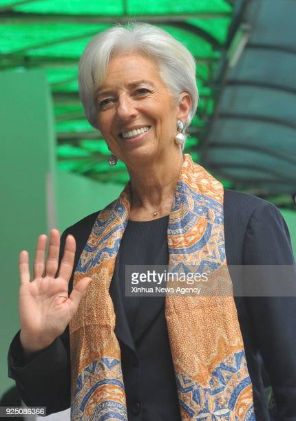 JAKARTA Feb 26 2018 Christine Lagarde managing director of the International Monetary Fund waves as she visits Pertamina Hospital in Jakarta...