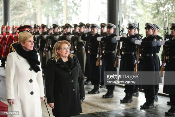 ZAGREB Feb 26 2018 Croatian President Kolinda GrabarKitarovic and visiting Maltese President MarieLouise Coleiro Preca review the Presidential Guard...