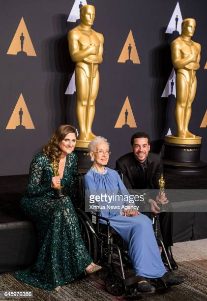 LOS ANGELES Feb 27 2017 Director Ezra Edelman and producer Caroline Waterlow pose after winning the Best Documentary Feature award for OJ Made in...