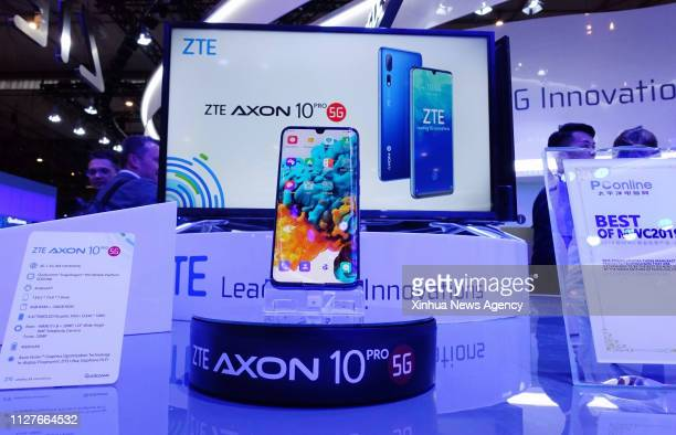 BARCELONA Feb 27 2019 China's ZTE presents its Axon 10 Pro 5G cellphone at Mobile World Congress in Barcelona Spain Feb 26 2019 The fourday MWC 2019...
