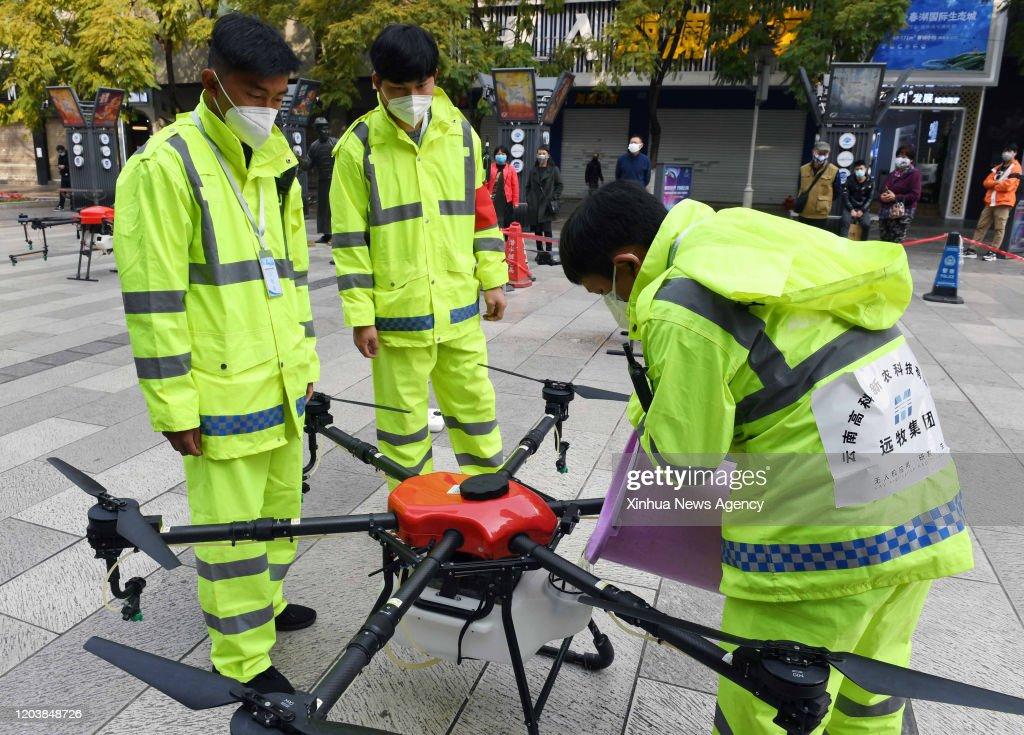 CHINA-YUNNAN-UAV-CORONAVIRUS-EPIDEMIC PREVENTION (CN) : News Photo