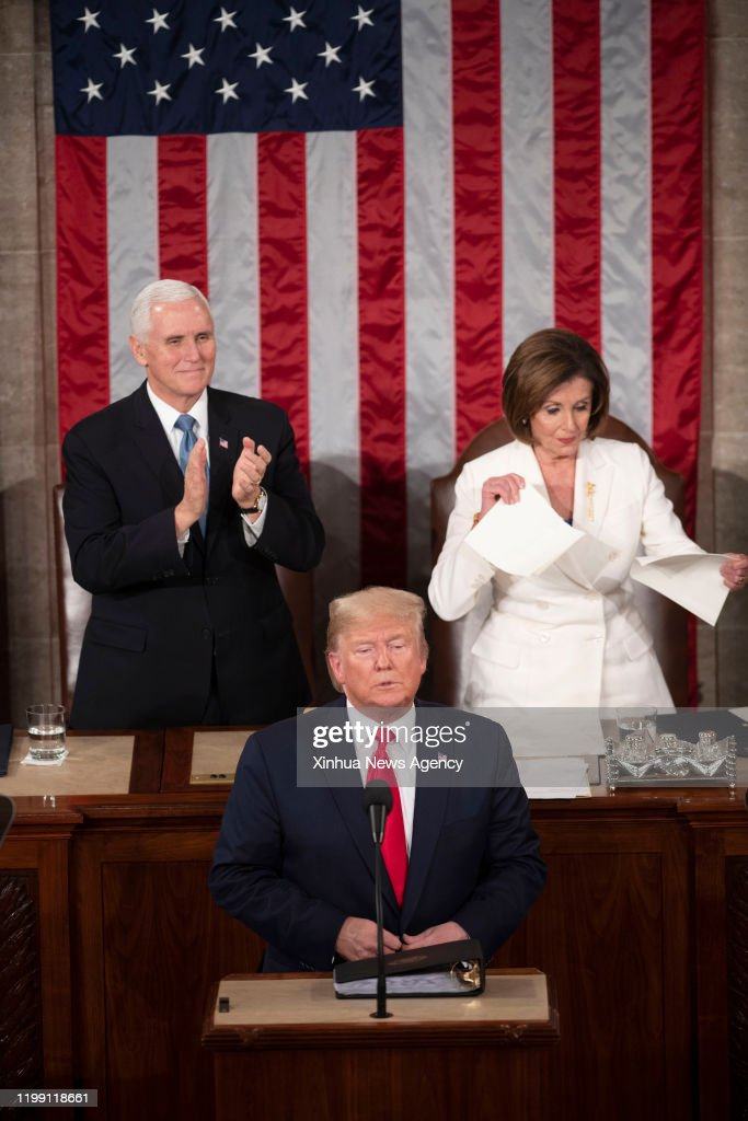 U.S.-WASHINGTON D.C.-TRUMP-STATE OF THE UNION-PELOSI : News Photo