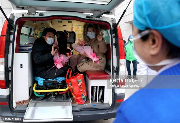 Feb. 4, 2020 -- The cured patients wave goodbye to medical staff in the First Affiliated Hospital of Zhengzhou University in Zhengzhou, central...