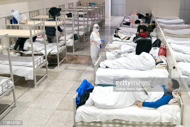 BEIJING Feb 5 2020 Patients infected with the novel coronavirus are seen at a makeshift hospital converted from an exhibition center in Wuhan central...