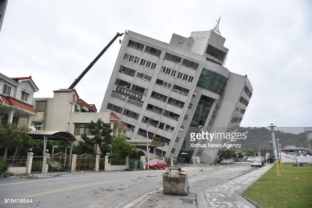 Feb. 7, 2018 -- A building is tilted in quake-hit Hualien County, southeast China's Taiwan, Feb. 7, 2018. Two people were killed and over 200 were...