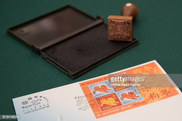 BUDAPEST Feb 7 2018 The first day cover is seen on a table at the Hungarian Stamp Museum in Budapest Hungary on Feb 6 2018 The special zodiac stamp...