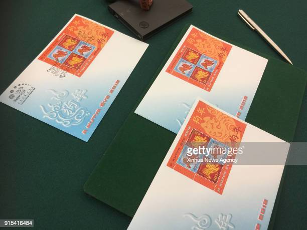 BUDAPEST Feb 7 2018 The first day covers are seen on a table at the Hungarian Stamp Museum in Budapest Hungary on Feb 6 2018 The special zodiac stamp...