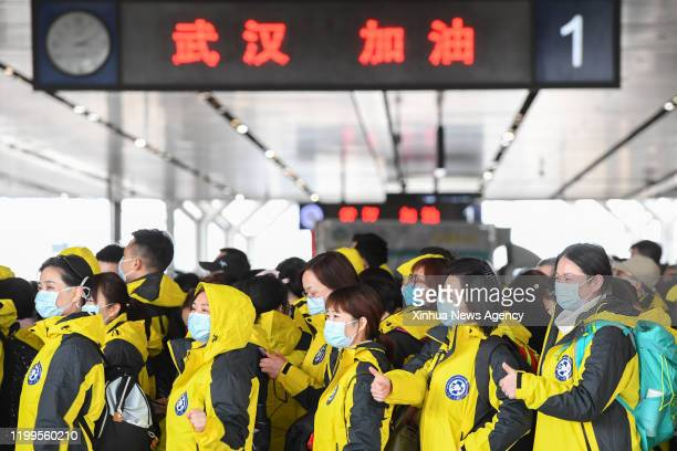 Feb. 8, 2020 -- Medical team members of the Third Xiangya Hospital of Central South University gather at Changsha South Railway Station in Changsha,...
