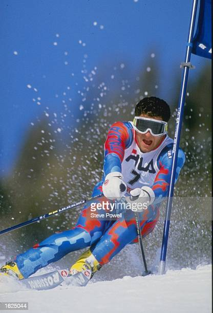 Alberto Tomba of Italy in action passing a gate during the giant slalom at the World Championships in Crans Montana Switzerland Mandatory Credit...