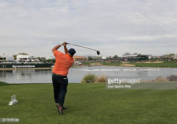 Kevin Stadler tees off at the 18th hole during the 2014 Waste Management Phoenix Open at the TPC Stadium golf course in Scottsdale Arizona Kevin...