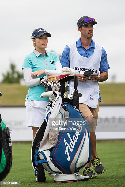 Sarah Jane Smith and her caddie during the second round of the Coates Golf Championship in Ocala FL