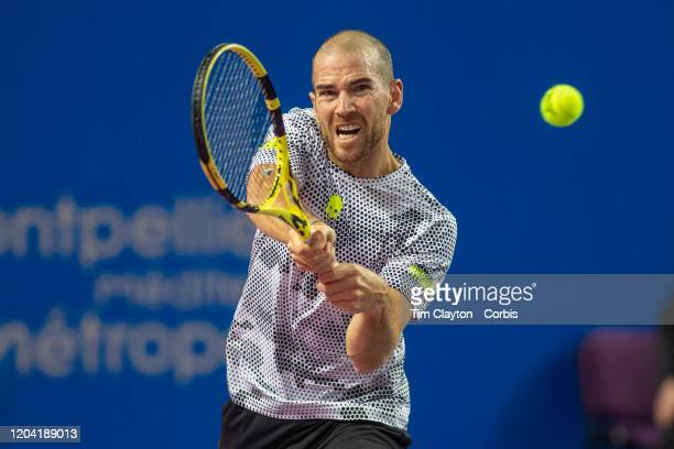 February 05 Adrian Mannarino of France in action against Alexei Popyrin of Australia in the first round of the Open Sud de France Tennis Tournament...