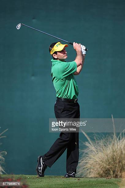 Mark Wilson hits a shot from the 16th tee during round three of the Waste Management Phoenix Open at the TPC Stadium golf course in Scottsdale Arizona