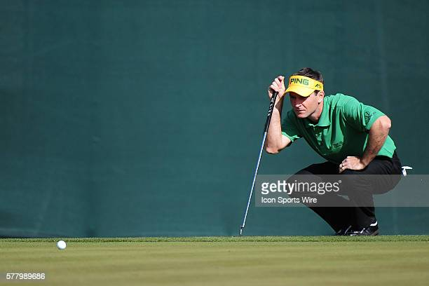 Mark Wilson lines up his putt on the 16th green during round three of the Waste Management Phoenix Open at the TPC Stadium golf course in Scottsdale...