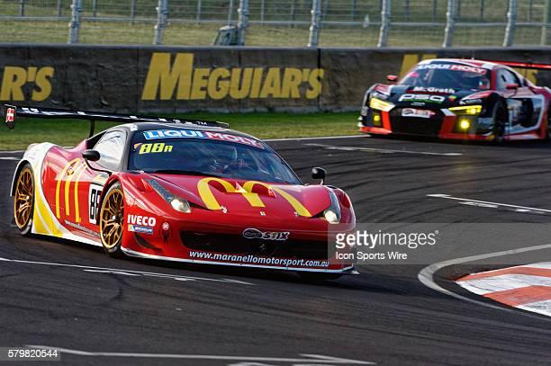 No 88 McDonald's Maranello Motorsport Ferrari 458 GT3 driven by Mika Salo / Toni Vilander / Tony D'Alberto / Grant Denyer during practice on Day 2 of...