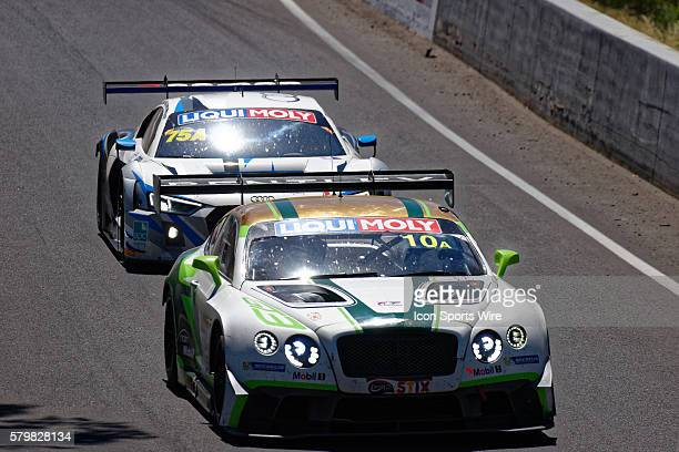 No 10 Bentley Team MSport Bentley Continental GT3 driven by Steven Kane / Guy Smith / Matt Bell leads No 75 JamecPem Racing Audi R8 LMS driven by...