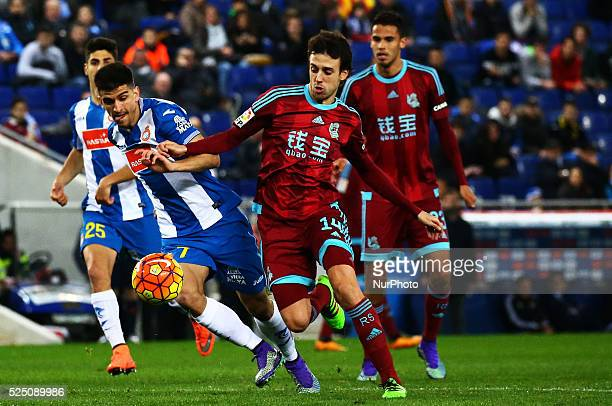 Gerard Moreno and Pardo during the match between RCD Espanyol and Real Sociedad corresponding to the week 23 of the spanish league played at the...